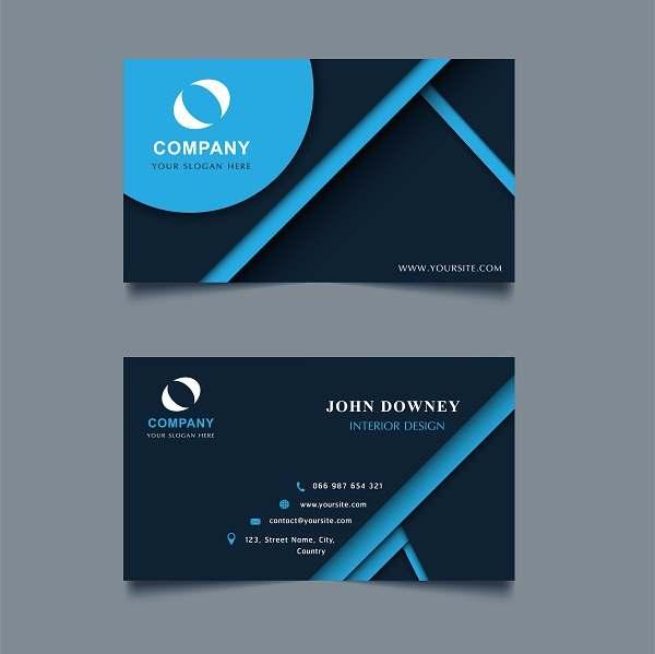 کارت ویزیت لایه باز مشکی و آبی