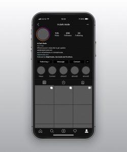 قالب طراحی وکتور UI برنامه Instagram حالت تاریک