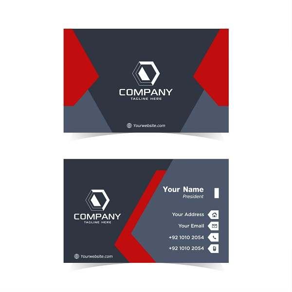کارت ویزیت لایه باز کسب و کار مشکی و قرمز