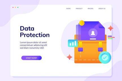 وکتور لایه باز صفحه طراحی وب سایت حفاظت از داده ها