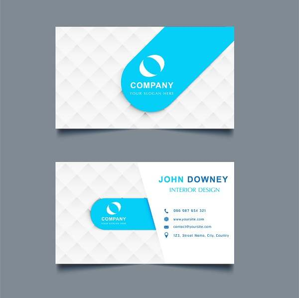 کارت ویزیت لایه باز سفید و آبی