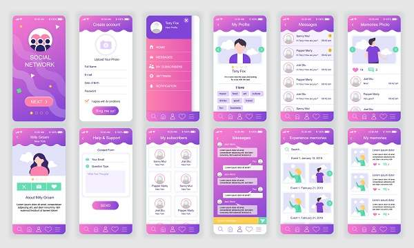 طرح لایه باز برنامه شبکه اجتماعی برای موبایل