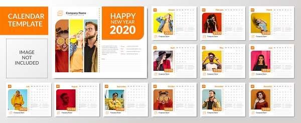 دانلود تقویم لایه باز رومیزی مینیمالیستی 2020