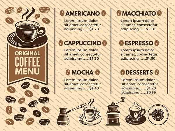دانلود منوی کلاسیک کافه و قهوه