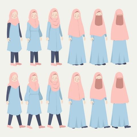 دانلود وکتور لایه باز دختر مسلمان
