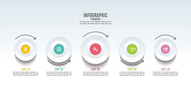 دانلود وکتور لایه باز قالب اینفوگرافیک 5 مرحلهای کسب و کار همراه با خطوط اتصال و آیکون 🔥