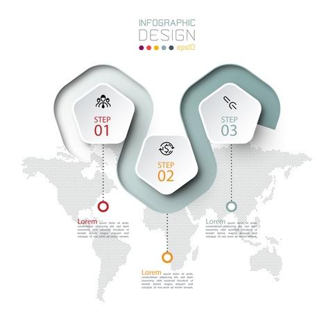 دانلود وکتور لایه باز اینفوگرافیک 3 مرحلهای کسب و کار 🔥