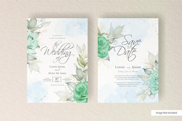 دانلود وکتور کارت دعوت عروسی با طرح گل آبرنگی🔥